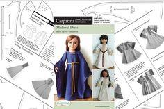 Mittelalterliche Puppe Kleid historische Papiermuster von CARPATINA