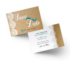 Traumhaft schöne Save the Date Karte mit Spitze im VIntage Stil. Save The Date Karten, Vintage Stil, Place Cards, Place Card Holders, Card Wedding, Invitation Cards, Getting Married, Lace, Invitations