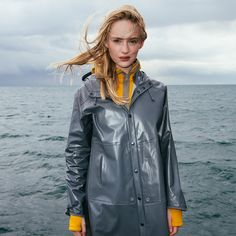grey pvc raincoat girl 66north