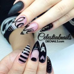 "Perfect for Valentine's Day or ""just because"" nails. Black negative space nail art!"