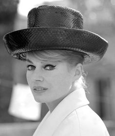 1963, Anita Ekberg, hat, The Milliner's Art,---(born 29 September 1931 in Malmö, Skåne) is a Swedish-American actress, model, and cult sex symbol. She is best known for her role as Sylvia in the 1960 Federico Fellini film La Dolce Vita.