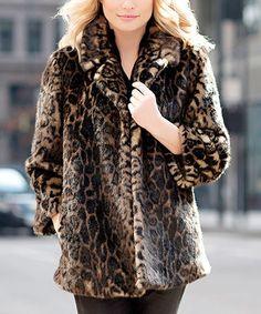 Black Faux Leopard Fur Jacket - Plus Too