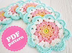 Transcendent Crochet a Solid Granny Square Ideas. Inconceivable Crochet a Solid Granny Square Ideas. Crochet Diy, Mandala Au Crochet, Crochet Motifs, Crochet Dishcloths, Crochet Flower Patterns, Crochet Squares, Love Crochet, Crochet Gifts, Crochet Doilies
