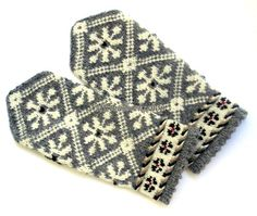 Hand knitted mittens Wool mittens Warm winter gloves Patterned mittens White winter ornament on a gray background Latvian mittens Gift 2015