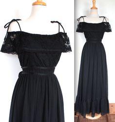 Vintage 1970's Gunne Sax Dress // 70s Black Lace Boho Gown // Summer Magic // DIVINE by TrueValueVintage on Etsy