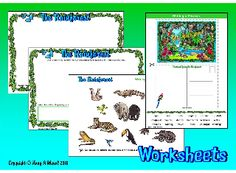 THE RAINFOREST- Creating a scene for/from a story and write about it (cut & paste pictures); writing a postcard