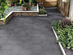 Marshalls Limestone Textured Black Multi Paving Slab 600 x 300 x 22 mm Garden Slabs, Patio Slabs, Garden Paving, Patio Flooring, Brick Paver Patio, Flooring Tiles, Limestone Patio, Small Backyard Gardens, Houses