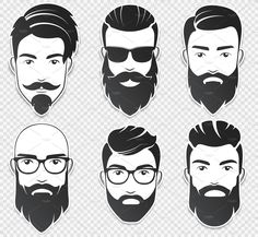 Set of vector bearded hipster men faces with different haircuts, mustaches, beards. Trendy man avatar, emblem, male icon or logo. Soft shadows stickers isolated on the transperant background. Boy Illustration, Illustrations, Bart Styles, Beard Logo, Gents Hair Style, Male Icon, Beard Art, Viking Beard, Logos