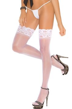 Sheer Thigh Highs 1753 Elegant Moments Get noticed in sexy sheer thigh highs. These sheer stretchy thigh highs feature a lovely lace trim and a stay up silicone top so they won't fall down when you dance the night away. Wear them with everything from sexy costumes to chic cocktail attire.