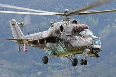 Czech MI24 Hind helicopter in mountain flying training in the french Pyrenees. Photo : Julien GERNEZ