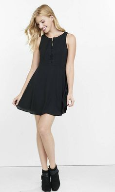 Lace-up Fit And Flare Dress   Express