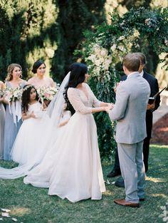 Photography : Winsome and Wright | Wedding Dress : Monique Lhuillier | Venue : Villa del Sol dOro Read More on SMP: http://www.stylemepretty.com/2016/08/17/classic-pastel-pasadena-villa-wedding/