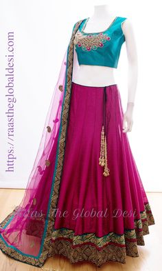 CHOLI-Raas The Global Desi-[wedding_lehengas]-[indian_dresses]-[gown_dress]-[indian_clothes]-[chaniya_cholis] Half Saree Lehenga, Lehenga Gown, Lehnga Dress, Indian Lehenga, Bridal Lehenga, Sharara Suit, Gown Dress, Indian Gowns Dresses, Indian Fashion Dresses