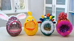 Easter eggs need to be stored in a beautiful basket.  These crazy characters are made from balloons that have been wrapped in crochet cotton then covered with PVA. Just like papier-mâché, the glue will take a few days to dry, giving you plenty of time to let your imagination run wild with decorating ideas for your new quirky creations.