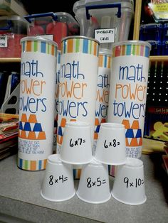Math power towers, pull out a cup solve problem stack it up. Write answer on the inside for self check. You can make them for multiplication, division, addition or subtraction. Whoever has the biggest structure wins. Teaching Multiplication, Teaching Math, Multiplication Problems, Multiplication Strategies, Fractions, Teaching Ideas, Math Resources, Math Activities, Power Tower