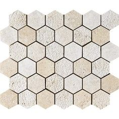 Mosaics & Waterjets - Facings of America MS Seashell Textured 10x12 Hexagon Limestone Mosaics Touch Stone Collection