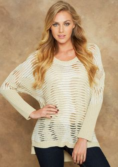 Metallic Open Stitch Sweater - Sweaters - Clothing - Alloy Apparel