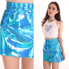 blue holographic skirt