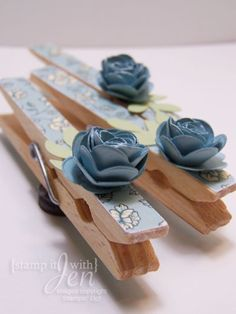 I make these and sell them at craft shows.  Lots of different ways you can decorate the clothespins.