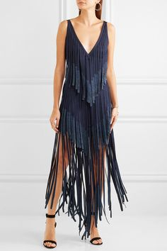 Hervé Léger | Metallic fringed bandage midi dress | NET-A-PORTER.COM