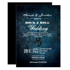 Rock n Roll Retro Vintage Wedding Invitation