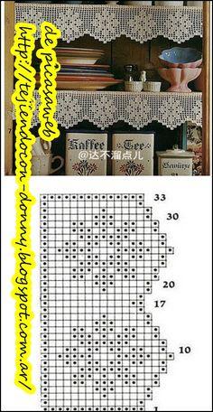Filet Crochet, Thread Crochet, Knit Or Crochet, Crochet Hooks, Crochet Border Patterns, Granny Square Crochet Pattern, Embroidery Patterns, Valance Patterns, Crochet Curtains