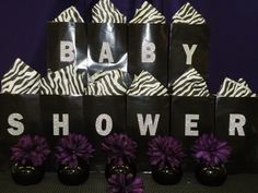 Baby Shower - Purple, Black and White