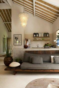 joli salon de couleur taupe et avec une ambiance zen
