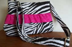 Small Ruffled Crossbody Bag Black Hot Pink Zebra by AuntBsAttic, $38.00