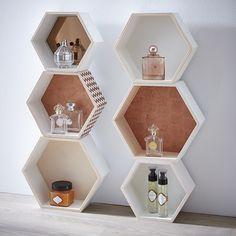Étagères hexagonales cuivre