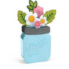 Silhouette Design Store - View Design #131498: mason jar bouquet box card