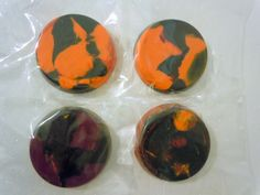 Set of 4 --  Halloween Crayons, Recycled, Upcycled. $6.00, via Etsy.