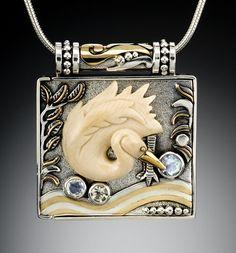 """""""Egret"""" Silver, 14kt Gold Fill, Rainbow Moonstone & Ancient Mammoth Tusk Locket - Zealandia Designs"""