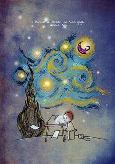 i wrote a letter to van gogh about you by vimal chandran Vincent Van Gogh, Van Gogh Arte, Van Gogh Quotes, Imagination Art, Art Mignon, Mode Blog, Arte Sketchbook, Art Et Illustration, Art Illustrations