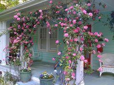 Garden fence trellis climbing roses 50 ideas – Famous Last Words Ideas Cabaña, Rose Arbor, Climbing Flowers, Climbing Rose Trellis, Vintage Porch, Rose Bush, Garden Fencing, Rose Cottage, Front Yard Landscaping