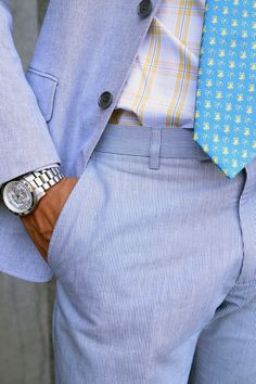 Banana Republic summer suit and classy silver Michael Kors watch