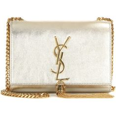 Saint Laurent Classic Small Monogram Metallic Leather Shoulder Bag ($1,600) ❤ liked on Polyvore featuring bags, handbags, shoulder bags, clutches, gold, monogrammed purses, yves saint laurent handbags, white leather purse, white leather handbags and monogrammed leather purse