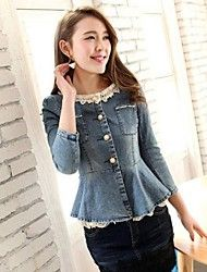 Women's Fashion Lace Decoration Slim Denim Jacket Save up to 80% Off at Light in the Box with Coupon and Promo Codes.