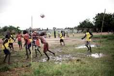 A Little Rain Won't Stop This Game! #Africa #children #SouthSudan #soccer #WorldCup