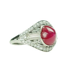 Art Deco ruby & diamond platinum ring