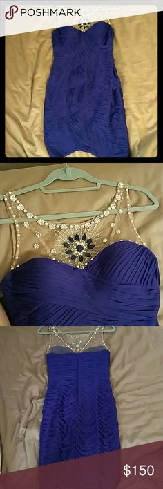 Purple Ruched Beaded Dress Stunning dress by Adriana Palell. Worn Once, Perfect condition. Sweetheart neckline with mesh. Detailed beading on mesh at the top. Price is negotiable. adrianna papell  Dresses