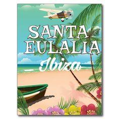 Santa Eulalia Ibiza vintage travel poster Postcard
