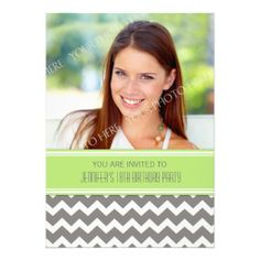 Lime Gray Photo 18th Birthday Party Invitations