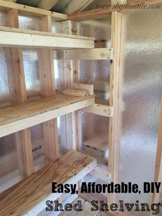 How to build DIY shed shelving easily and affordable. How to build DIY shed shelving easily and affordable. Diy Storage Shed, Shed Organization, Diy Shed, Woodworking Organization, Garage Storage, Outdoor Storage, Small Storage, Garage Tools, Tool Storage