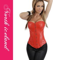 Gothic Punk Black Faux Leather Plus Size Corset Overbust Waist Training Corsets Sexy Corset Bustier Corset Sexy, Red Corset, Strapless Corset, Punk Fashion, Leather Fashion, Girl Fashion, Red Leather, Bustiers, Sexy Women