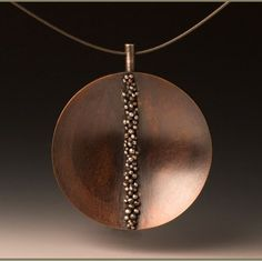 Silver & Coconut Shell Pendant hand fabricated from sterling silver and dyed coconut shell. Suspended on a sterling silver necklace. Mixed Metal Jewelry, Metal Clay Jewelry, Copper Jewelry, Wire Jewelry, Pendant Jewelry, Jewelry Art, Jewelery, Jewelry Necklaces, Bijoux Design