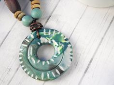 Polymer Clay Pendant Beaded Necklace by WiredOrchidJewelry on Etsy