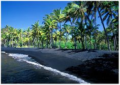 "Photo of Punaluu Beach Park, Big Island, Hawaii. Credit: Wikimedia Commons. Read more on the GenealogyBank blog: ""Hawaii Archives: 25 Newspapers for Genealogy Research."" http://blog.genealogybank.com/hawaii-archives-25-newspapers-for-genealogy-research.html"
