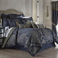 Add a royal touch to your bedroom with the opulent Waterford Linens Vaughn Reversible Comforter Set. In deep sapphire and gold hues, the beautiful bedding uses its striking over-scaled damask to bring a rich and deep look to your bed. Navy Bedding, Blue Comforter, Queen Comforter Sets, Bedding Sets, Damask Bedding, Waterford Bedding, Queen Bed Comforters, Bedding Inspiration, Bedroom Decor