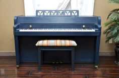 "Baldwin Spinet called ""Anchors Away!"" So cute. #piano #paintedpiano #pianorevivalproject"